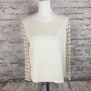 Lumiere by Anthropologie cream and lace blouse